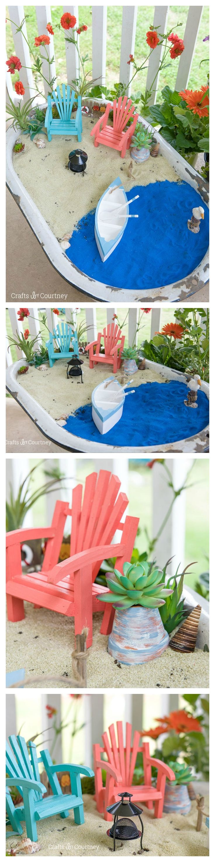 Create a DIY Fairy Garden this Summer with a coastal touch! I used some DecoArt patio paint to help create the perfect look for this fairy garden. Giving it a coastal feel was perfect for my style.