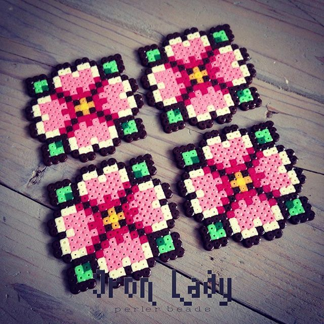 Flower coasters mini perler beads by iron_lady_perler_beads