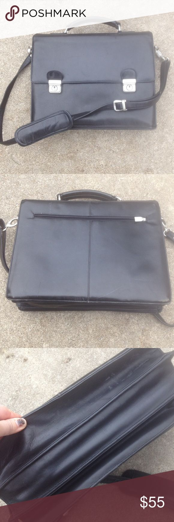 Wilson's Black Leather Briefcase Silver Hardware Wilson's Black Leather Briefcase Silver Hardware Multiple openings/sections Minor markings Great Condition Wilsons Leather Bags Laptop Bags