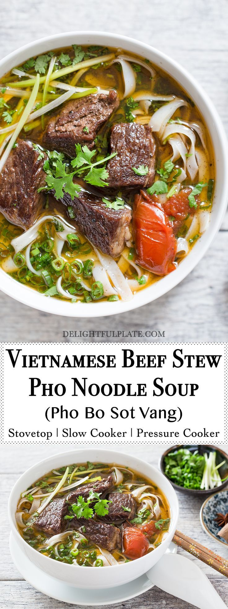 Vietnamese beef stew pho noodle soup (Pho bo sot vang) is a hearty and comforting noodle soup. This noodle soup features tender beef, flavorful broth and amazing aroma from pho spices. You can make it on the stovetop, in a slow cooker or even in a pressure cooker. #vietnamese #noodle