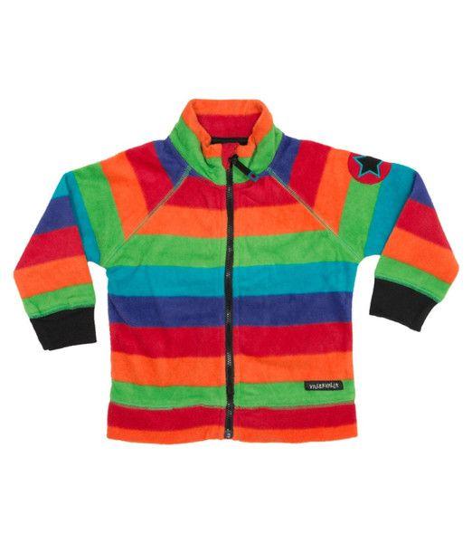 Villervalla Tivoli Multicoloured Rainbow Striped Fleece Jacket