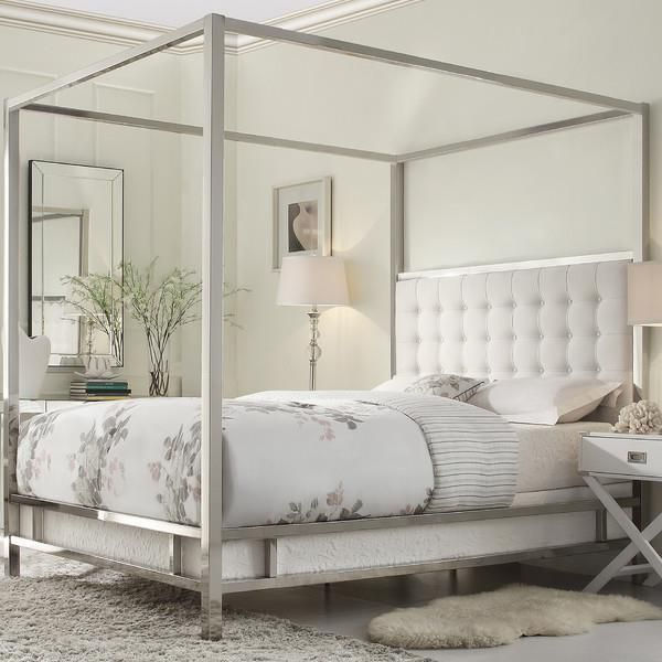 details about king size canopy bed chrome metal frame tufted headboard off white cream linen
