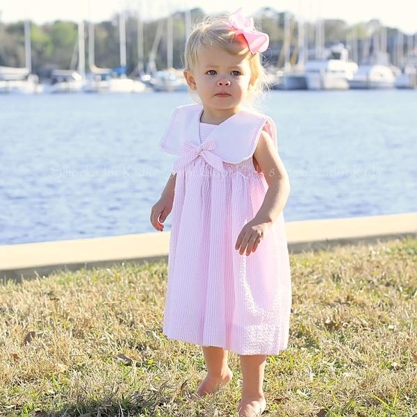 Light Pink Seersucker Nautical Dress