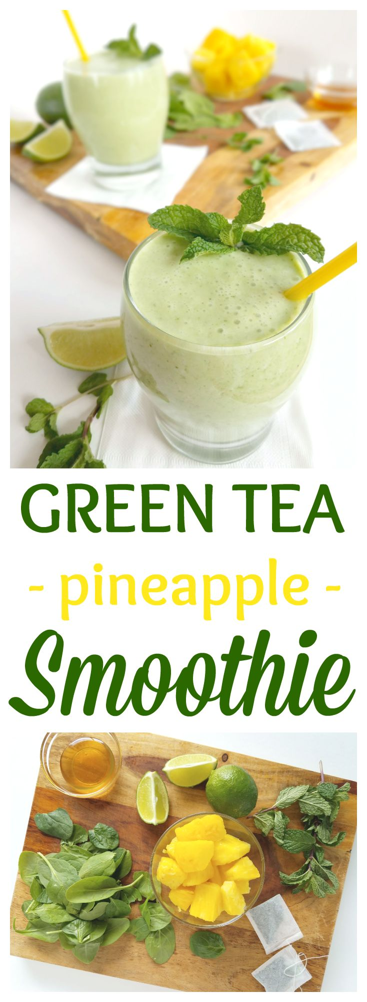 This Green Tea Smoothie with Pineapple and Spinach is refreshing and delicious, but it's also super nutritious and contains ingredients that may help soothe allergy symptoms! Gluten-free, dairy-free, nut-free, and Paleo with a vegan option!
