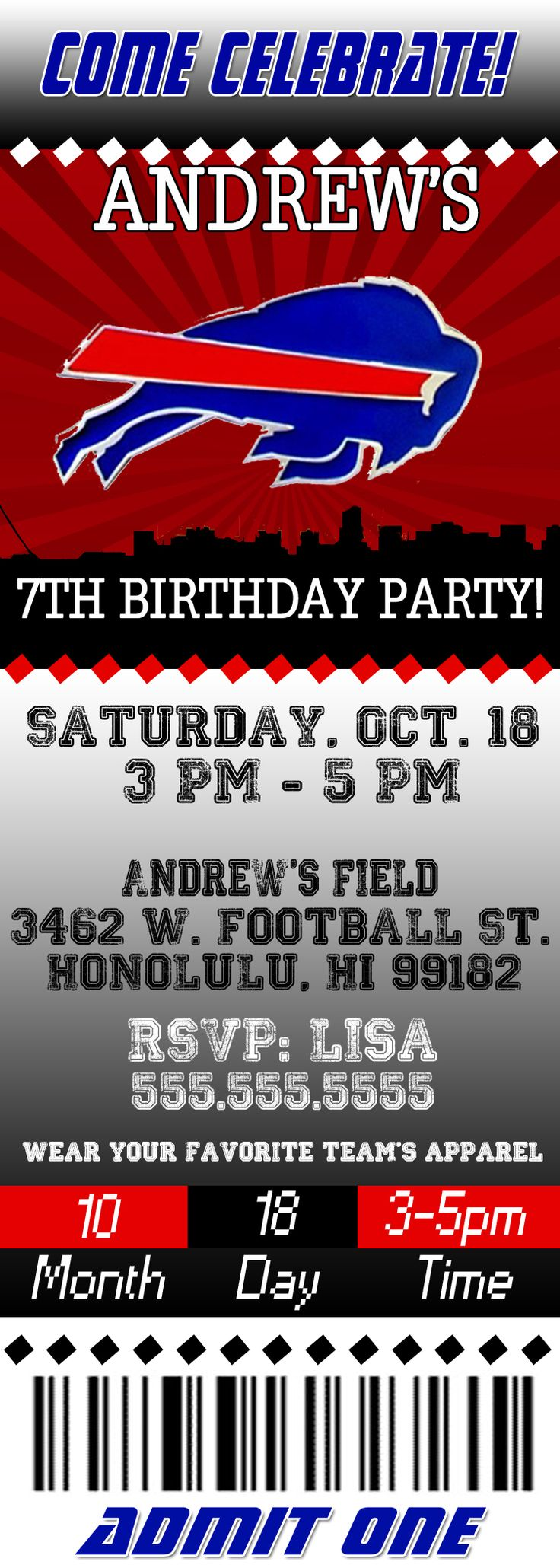 NFL Buffalo Bills Ticket Birthday Invitation