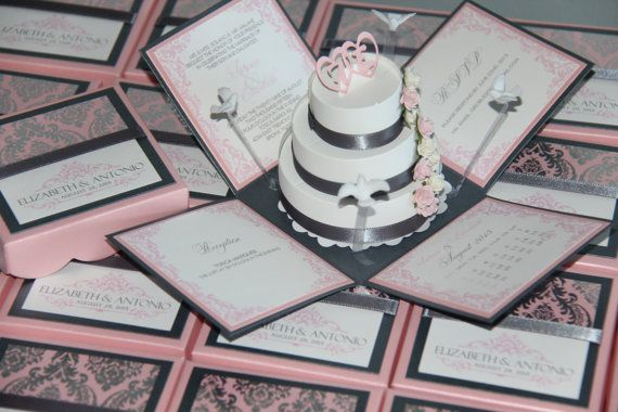 Pink and Grey Exploding Box Wedding Invitation by jinkyscrafts