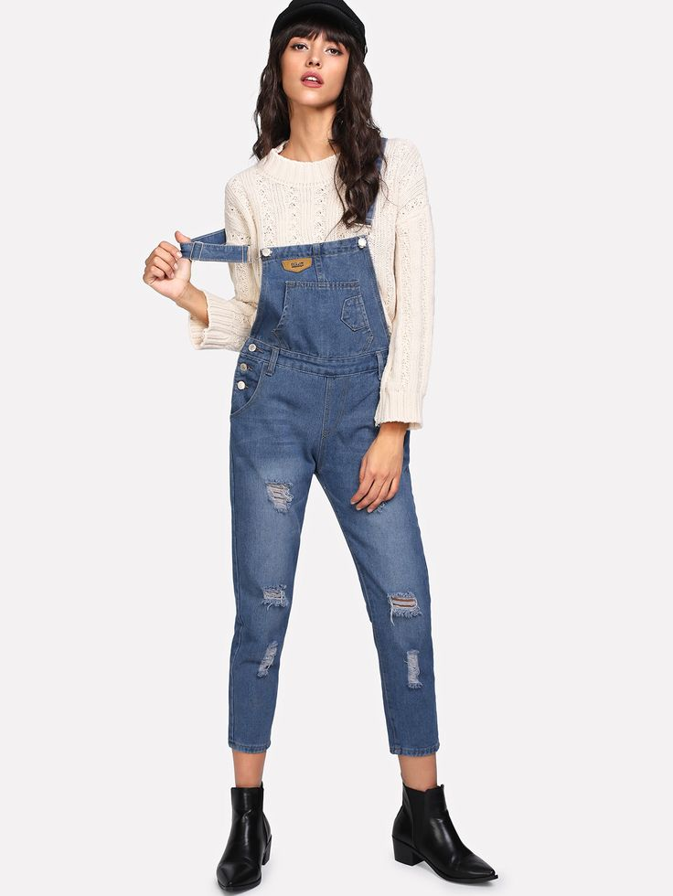 Shop Bleach Wash Ripped Denim Overalls online. SheIn offers Bleach Wash Ripped Denim Overalls & more to fit your fashionable needs.