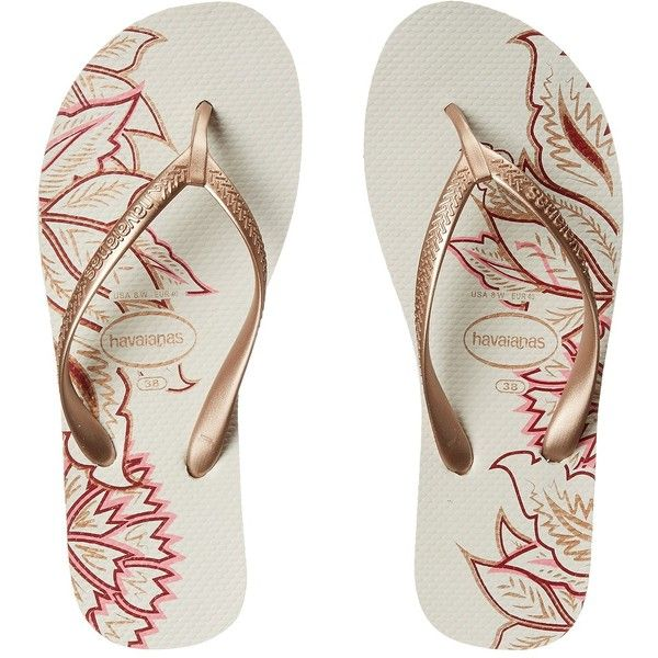 Havaianas High Light II Flip Flops (White/Rose Gold) Women's Sandals ($28) ❤ liked on Polyvore featuring shoes, sandals, flip flops and gold