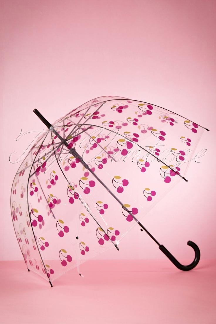 Handig en schattig deze 60s My Sweet Cherry Transparent Dome Umbrella, je ziet precies waar je loopt in de regen!  Dit prachtige exemplaar is voorzien van ontelbaar veel schattige kersjes en zorgt ervoor dat jij de regen uit de lucht kijkt! Het transparante scherm is gemaakt van waterdicht polyester en afgewerkt met een zwart kunststof handvat. De paraplu opent eenvoudig met één druk op de knop. I'm singin' in the rain... looking fab as always!;-) &...