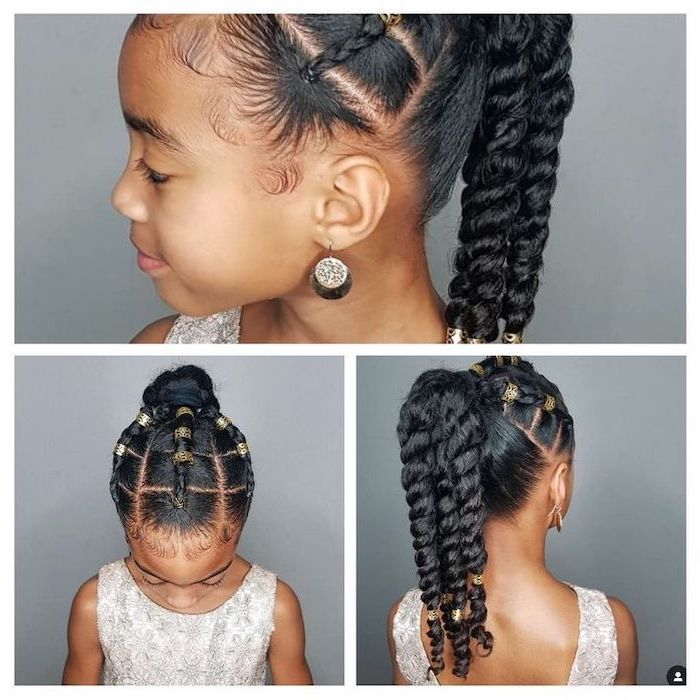 Grey Background Braided Hairstyles For Little Girls Black Hair Braids Golden Rings In 2020 Easy Little Girl Hairstyles Little Girl Hairstyles Kids Hairstyles