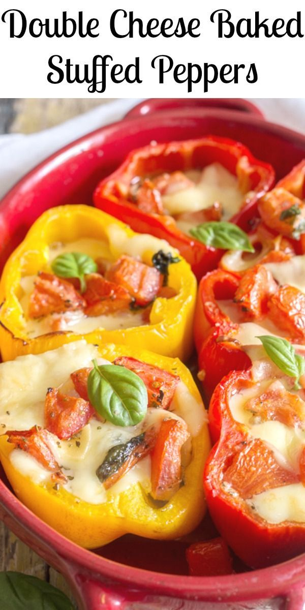 Easy Baked Stuffed Peppers Filled With An Italian Herb Bread Crumb Mixture And Delicious Melted Chees Stuffed Peppers Baked Stuffed Peppers Vegetarian Recipes
