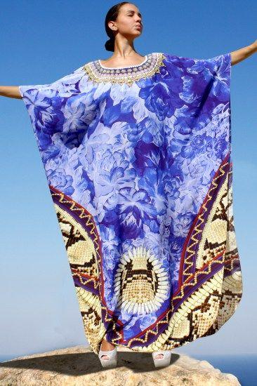 Marvelous silk kaftan blue flowers embellished with crystal – Fleurs sauvage
