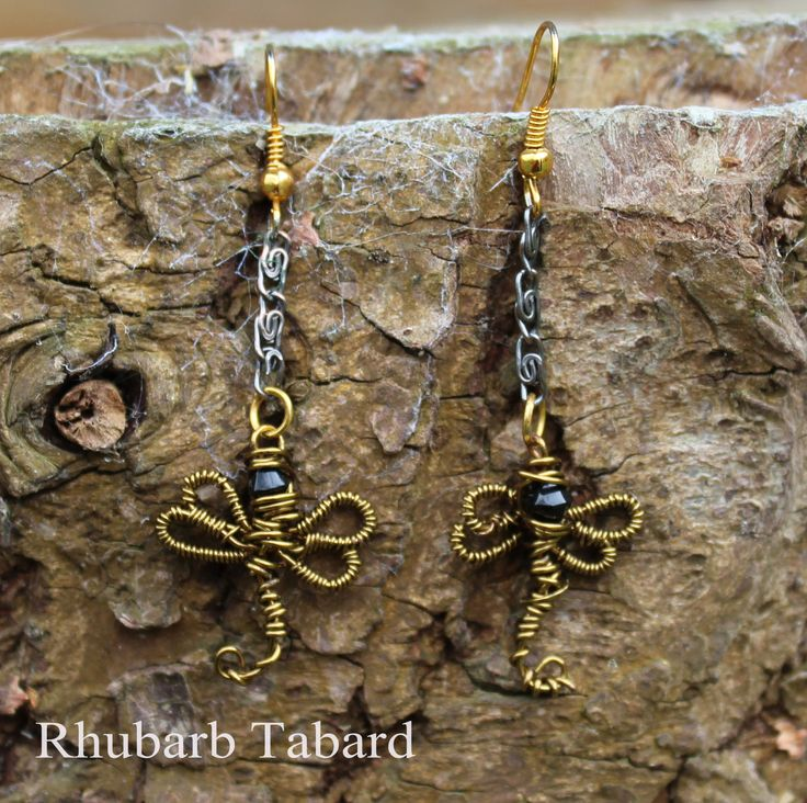 Dragonfly earrings,  earrings, dragonfly, gothic earrings,  wire wrapped , handmade jewellery, unique earrings, dragon jewellery by RhubarbTabard on Etsy