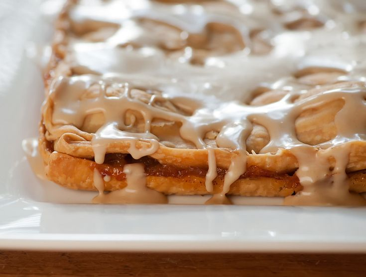 Vermont Apple Slab Pie. Made with Frosted Flakes. Can you believe it? I am so excited! And the frosting is made with pure maple syrup...do you see it dripping off of the top of that luscious crust? OMG.