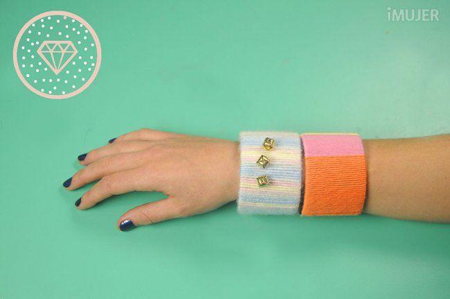 Haz brazaletes con los tubos de papel de la cinta adhesiva - Las Manualidades