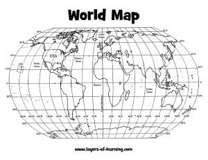 A Grid on Our Earth - An Exploration on Map Grids. You start with this printable map of the world and then do a whole activity with ribbons and colored pens to mark all the important lines on the globe.