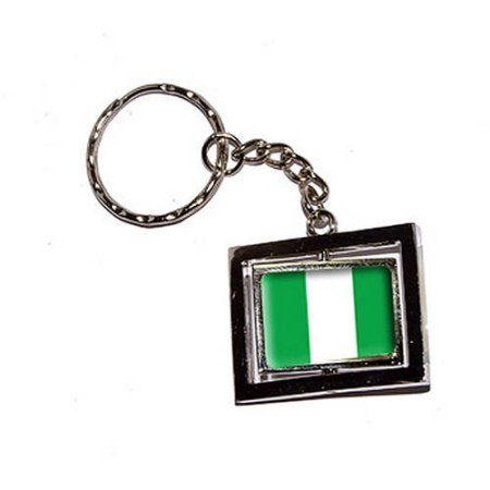 Nigeria Country Flag New Keychain Ring, Silver