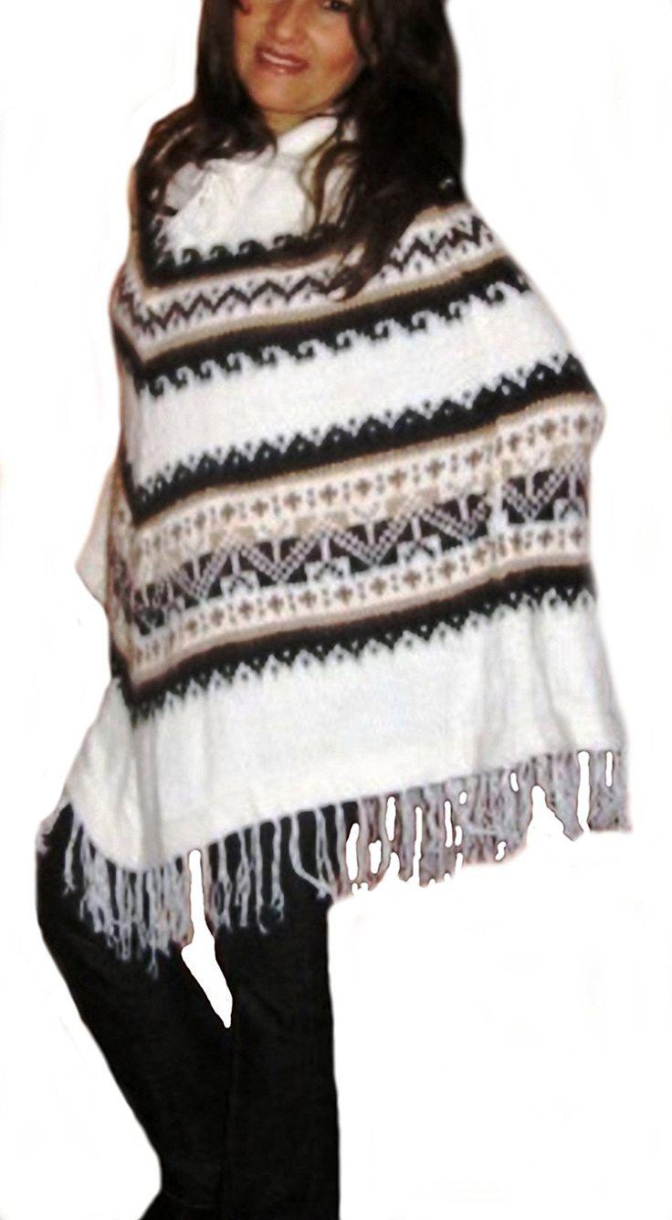Damen Original peruanischer gestreifter weißer #Poncho Cape Umhang Einheitsgröße mit Fransen #Alpakawolle: