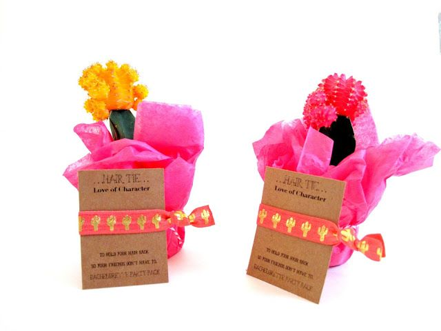 For the Love of Character: Desert Bachelorette Party Invites! Moon cactus and Cactus hair ties