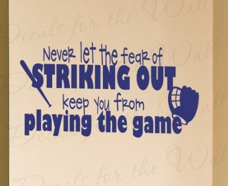 Amazon.com: Never Let the Fear of Striking Out - Baseball Boy Sports Themed Kids Room Playroom - Wall Decal, Lettering Decoration, Decorative Adhesive Vinyl Quote Design Saying, Sticker Graphic Decor Art Mural: Home & Kitchen