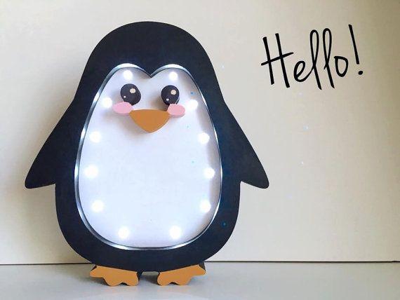 Penguin lamp Night light Kids lamp Baby room Baby by Bukvamd