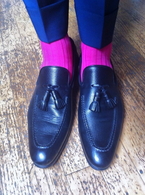 WIWT Black tassel loafers by Santoni per Oger