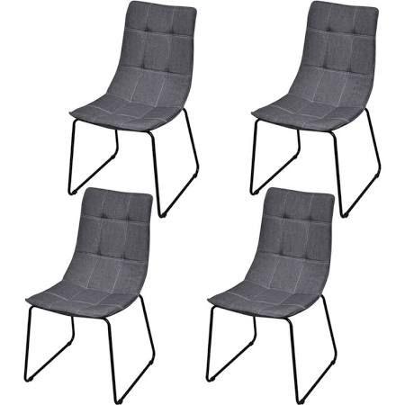 VidaXL 4 Dunkelgraue Esszimmerstühle Mit Eisenbeinen