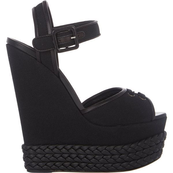 Giuseppe Zanotti Braided Platform-Wedge Sandals (€915) ❤ liked on Polyvore featuring shoes, sandals, wedges, heels, zapatos, обувь, black, wedge sandals, black ankle strap sandals and heeled sandals