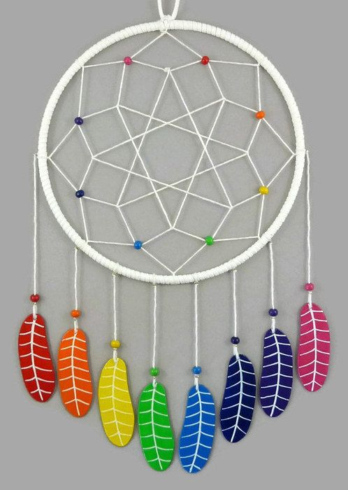 White dreamcatcher with rainbow feathers, multicolored dreamcatcher, modern and colorful dreamcatcher, birth gift, nursery decor, wall decor for kid's room, home decor - Made on order by @savousepate on Etsy - pinned by pin4etsy.com