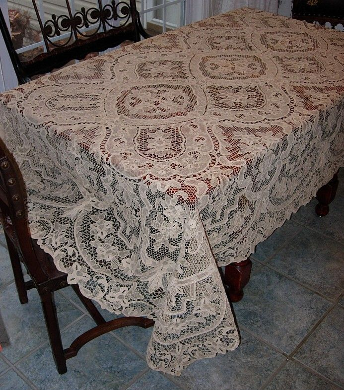 Emu0027s Heart Antique Linens  Antique Linen Italian Needlelace Tablecloth