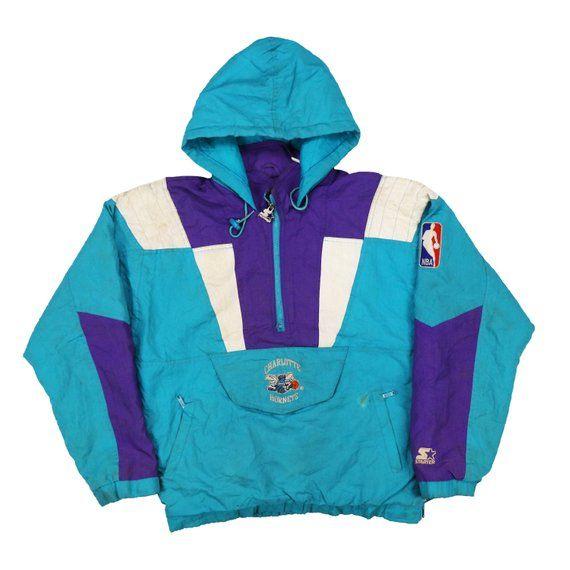 dab97c76409f66 Vintage 90s charlotte hornets Pullover Jacket