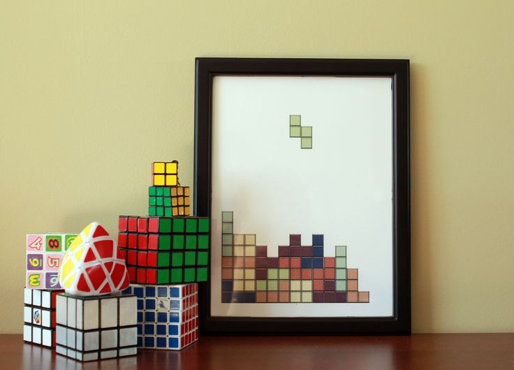 Geek inspired art - A game of Tetris illustration poster from Virtual to Vintage on Etsy .  $14.00