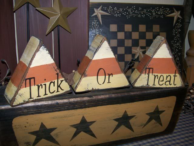 primitive halloween block signtrick treat candy corn - Wooden Halloween Decorations