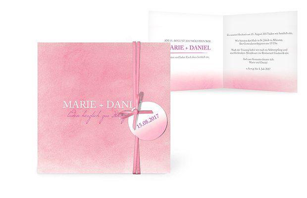 """Hochzeitseinladung im Aquarell Look mit """"Watercolor Art"""" von Wedding Eve #rosa #pink #einladung #papeterie #wasserfarben"""
