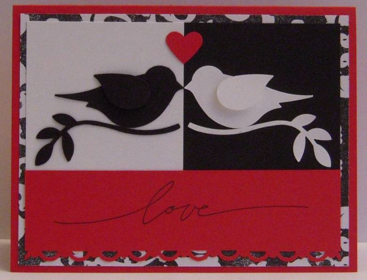 handmade anniversary card by woodknot ... black, white and red ... yin yang look with the two sets of birds face to face ... luv the cute two-step bird punch!! ... Stampin' Up!