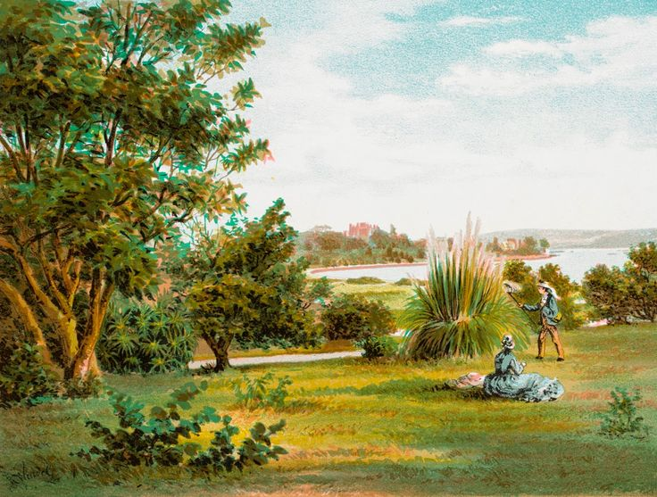 Botanical Gardens (Farm Cove) Government House in Distance, New South Wales, 1878
