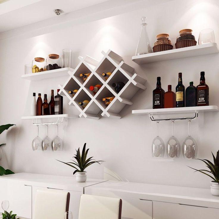 wall mount wine rack bottle glass holder 4 shelves white on shelves for wall id=53904