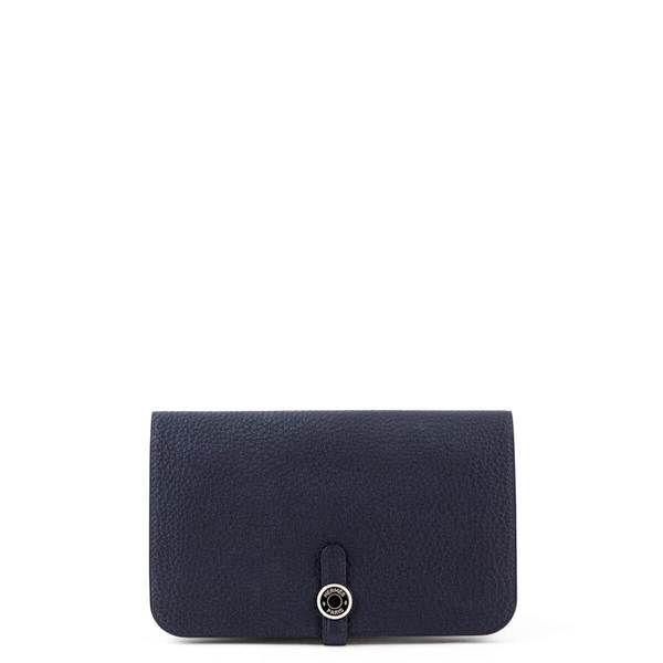 5d13f3a76290 Hermes Bleu Nuit Clemence Dogon Duo Wallet - LOVE that BAG - Preowned  Authentic Designer Handbags