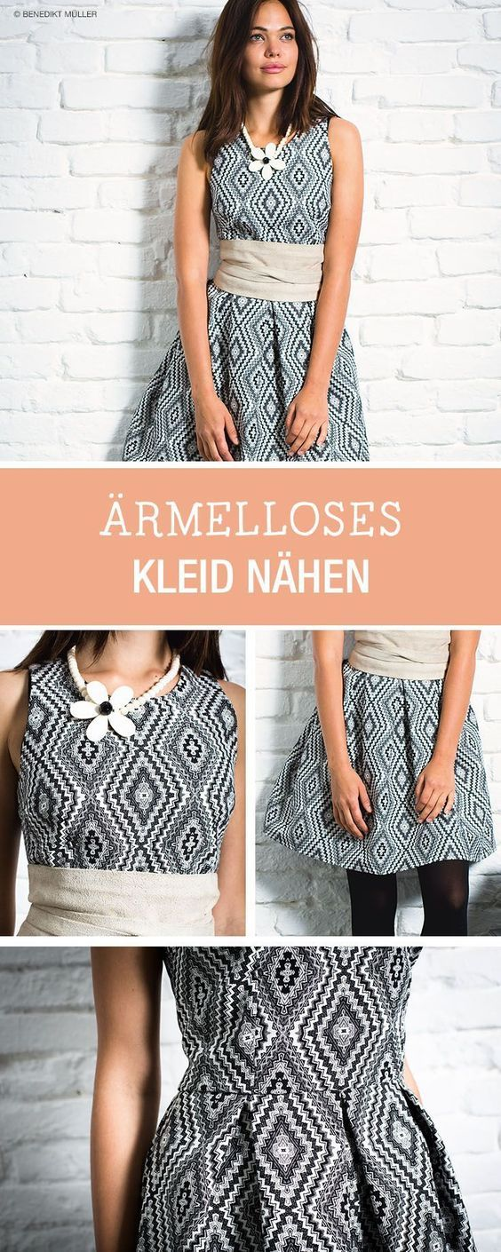 Kleider nähen: Kostenlose Nähanleitung für ein ärmelloses Cocktailkleid / diy sewing tutorial for midi cocktail dress via DaWanda.com