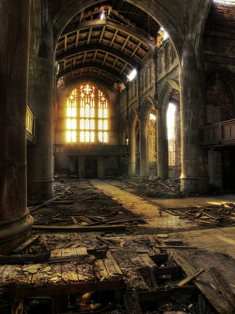 Abandoned church ~ love how the light is shining through the window here...