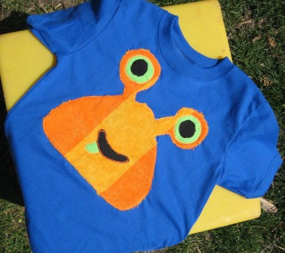 Monster Shirt Green Eyed Applique by thesassyseamstress on Etsy
