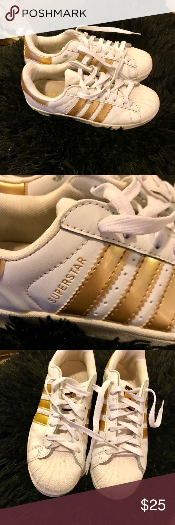 ADIDAS super star sneakers ADIDAS super star sneakers size 5 price lowered for a little yellowing on the toes AUTH adidas Shoes Sneakers