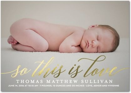 This is Love - Foil Stamped Boy Birth Announcement - Hello Little One - White : Front