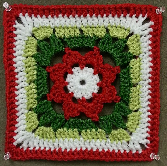 Granny Square with a Flower ~ free pattern