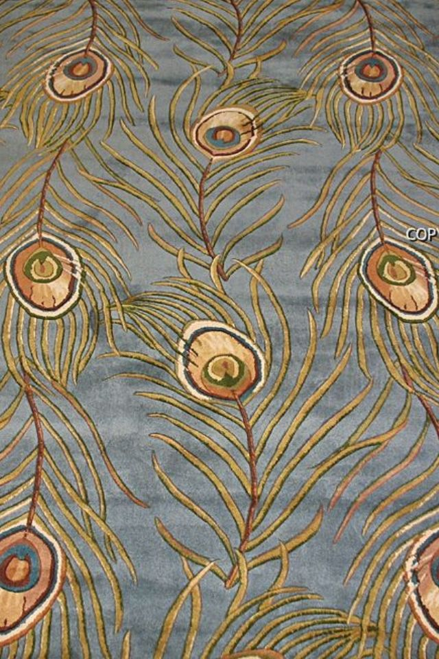 Rug Blue With Gold Pea Feathers