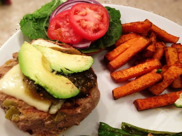 Southwestern Green Chile Turkey Burgers with Sweet Potato Fries