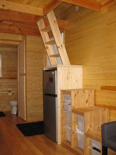Ima RV - A Tiny House on Wheels----- interesting stairs-to-ladder idea to get into loft