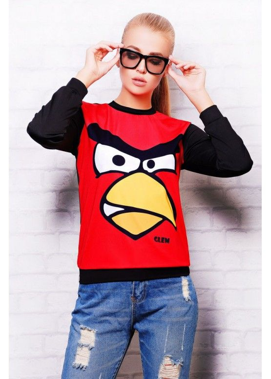 Angry Birds кофта Свитшот №2 (весна) д/р красный-черная отделка