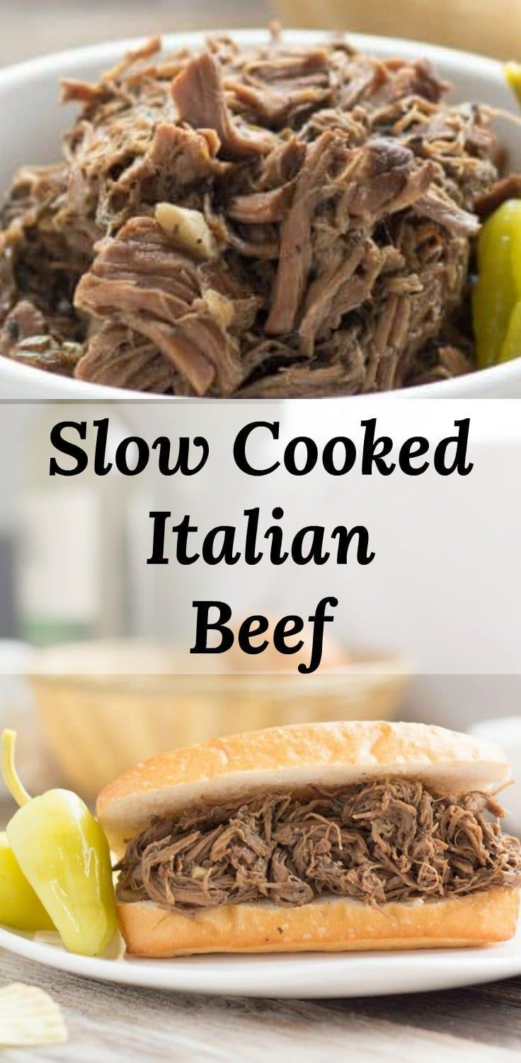 Slow Cooked Italian Beef Beef Slow Roasted In A Rich Chicago Style Beef Gravy Spiced Wi Italian Beef Recipes Slow Cooker Italian Beef Italian Beef Crockpot