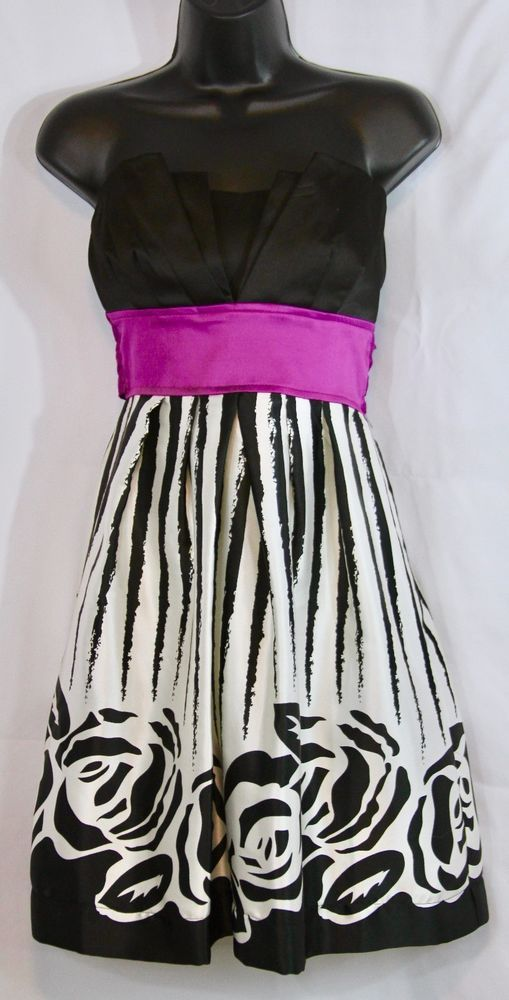 TeezeMe sleeveless dress with accented black bodice. Fuchsia band under breasts, tying in the back. Back strapless part is elastic. Body is black and white abstract stripes with roses. Unique short dress great for special occasion! | eBay!